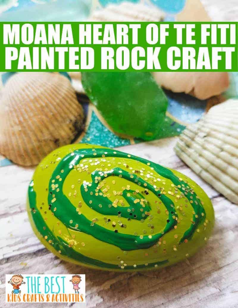 Moana Heart of Te Fiti Painted Rock Craft