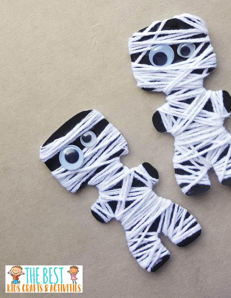 Yarn Wrapped Mummy Paper Craft